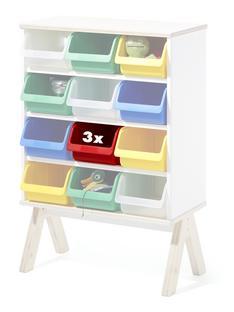 3er Set Kunststoffboxen für Famille Garage (klein) rot