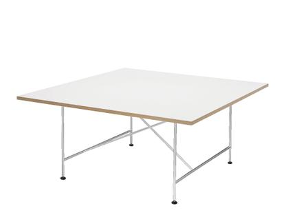 Eiermann 1 Konferenztisch Melamin weiß mit Eichekante|Chrom|Mit Niveauausgleichssatz (H 74-76cm)