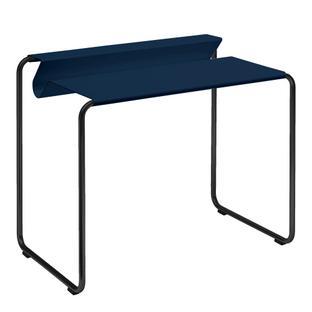 PS07 Sekretär Stahlblau (RAL 5011)|Ohne Schreibtischunterlage|Tiefschwarz (RAL 9005)