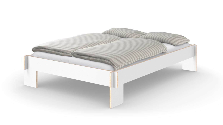 nils holger moormann siebenschl fer 140 x 200 cm ohne kopfteil wei mit lattenrost von. Black Bedroom Furniture Sets. Home Design Ideas