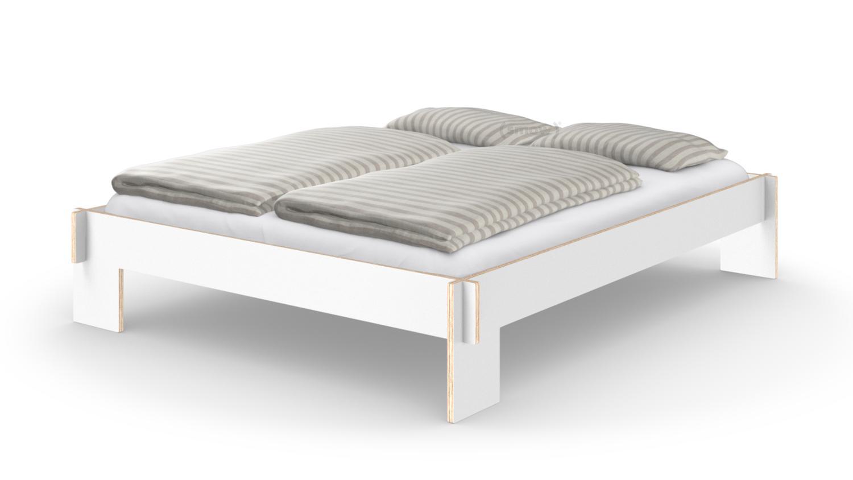 nils holger moormann siebenschl fer 160 x 200 cm ohne kopfteil wei mit lattenrost von. Black Bedroom Furniture Sets. Home Design Ideas