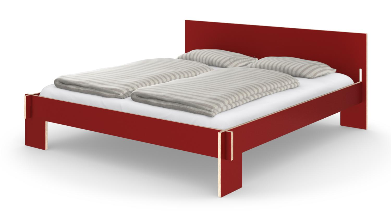 nils holger moormann siebenschl fer 180 x 200 cm mit kopfteil rot mit lattenrost von. Black Bedroom Furniture Sets. Home Design Ideas