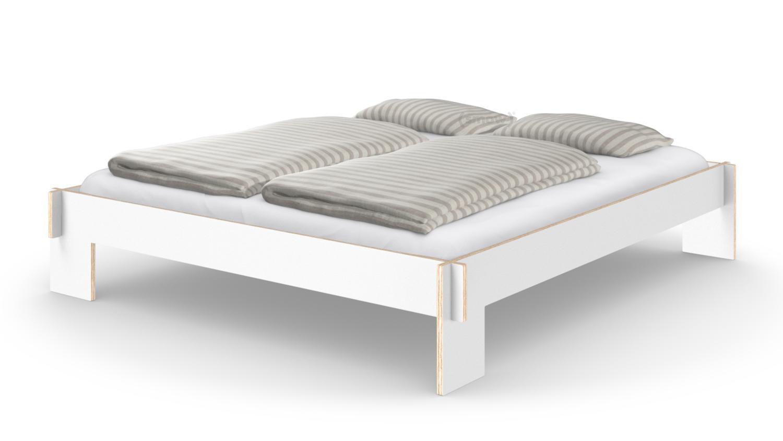 nils holger moormann siebenschl fer 180 x 200 cm ohne kopfteil wei mit lattenrost von. Black Bedroom Furniture Sets. Home Design Ideas