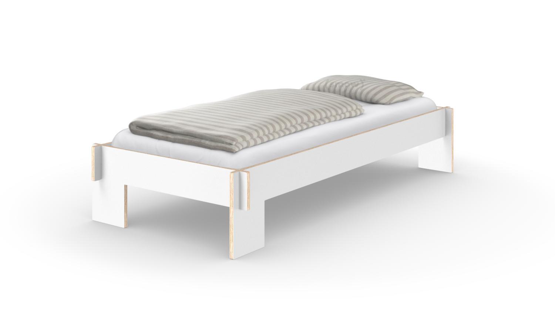 nils holger moormann siebenschl fer 90 x 200 cm ohne kopfteil wei mit lattenrost von. Black Bedroom Furniture Sets. Home Design Ideas
