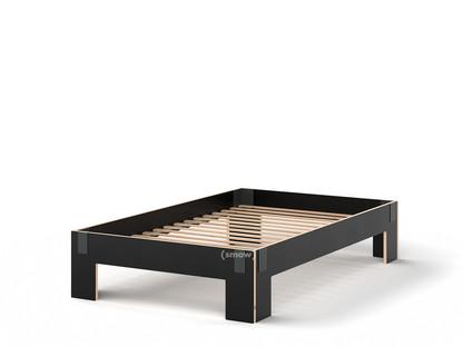 Tagedieb 120 x 200 cm|Ohne Kopfteil|FU (Sperrholz, Birke) schwarz|Anthrazitgrau|Mit Roll-Lattenrost