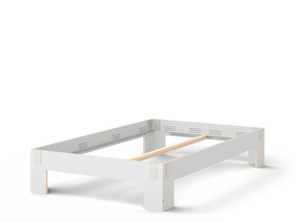 Tagedieb 140 x 220 cm|Ohne Kopfteil|FU (Sperrholz, Birke) weiß|Lichtgrau|Ohne Lattenrost