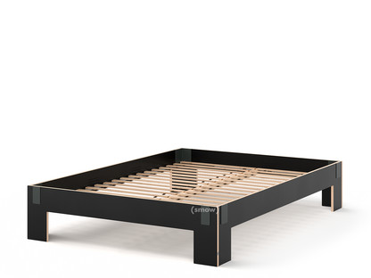 Tagedieb 160 x 220 cm Ohne Kopfteil FU (Sperrholz, Birke) schwarz Anthrazitgrau Mit Roll-Lattenrost
