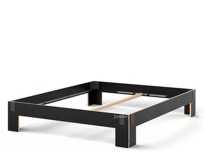 Tagedieb 180 x 220 cm|Ohne Kopfteil|FU (Sperrholz, Birke) schwarz|Anthrazitgrau|Ohne Lattenrost