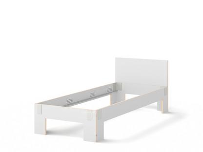 Tagedieb 90 x 220 cm|Mit Kopfteil|FU (Sperrholz, Birke) weiß|Lichtgrau|Ohne Lattenrost