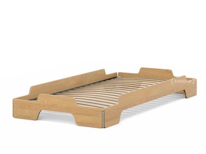 Stapelliege 90 x 190|Birke geölt und gewachst|Rollbar
