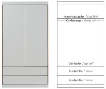 Flai Schrank Groß (216 x 118 x 61 cm)|Melamin weiß mit Birkekante|Ausstattung 5