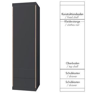 Flai Schrank Klein (216 x 61 x 61 cm) Melamin anthrazit mit Birkekante Ausstattung 5