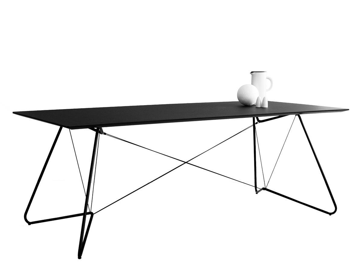 OK Design On A String Tisch, L 200 x B 90 x H 72 cm, Linoleum schwarz