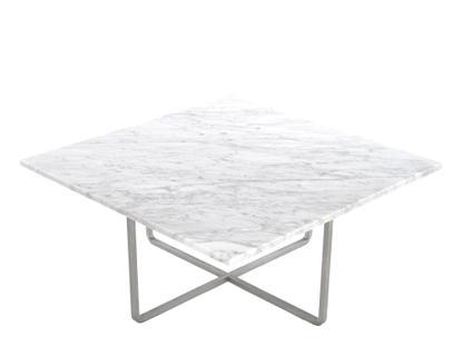 Ninety Table Groß (H 35 x B 80 x T 80 cm)|Weiß Carrara|Edelstahl
