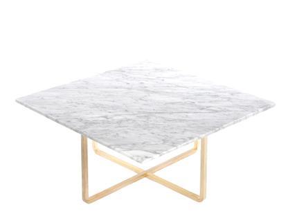 Ninety Table Groß (H 35 x B 80 x T 80 cm)|Weiß Carrara|Messing