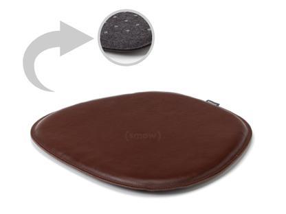 Sitzauflage Leder für Eames Side Chairs Oberseite Leder / Unterseite Filz|Cognac
