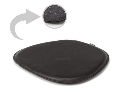 Sitzauflage Leder für Eames Side Chairs Oberseite Leder / Unterseite Filz|Schwarz