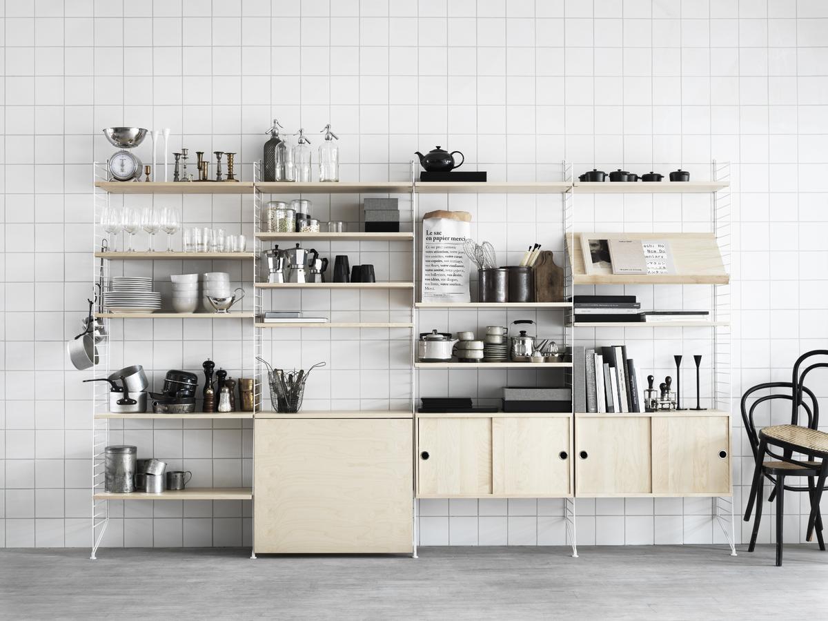 string system h ngeschrank mit schiebet ren von nisse strinning 1949 designerm bel von. Black Bedroom Furniture Sets. Home Design Ideas