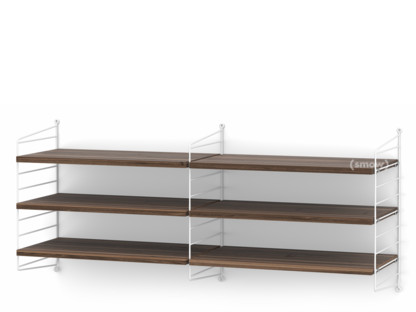 String System Wandregal M 30 cm|Weiß|Walnussfurnier