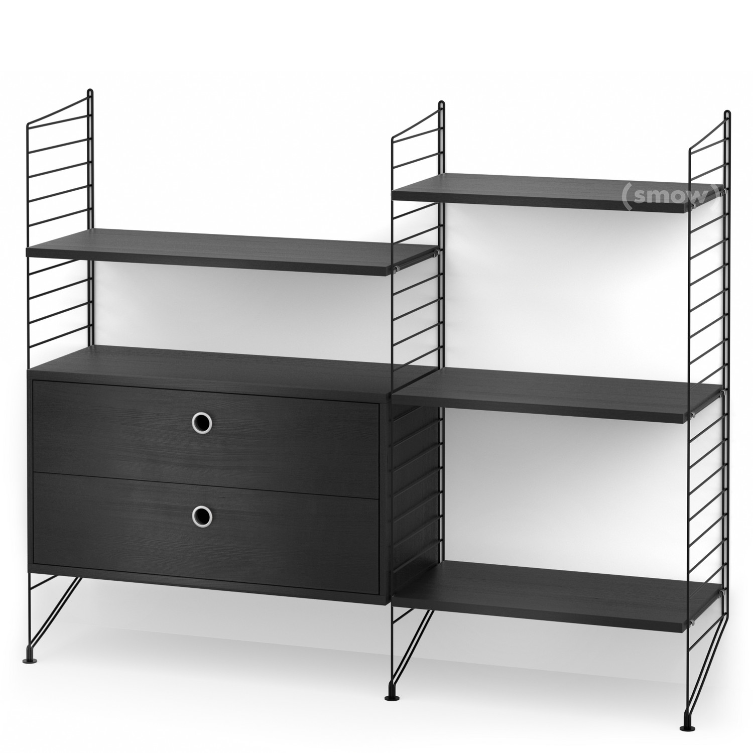 string system bodenregal mit schubladen schwarz. Black Bedroom Furniture Sets. Home Design Ideas