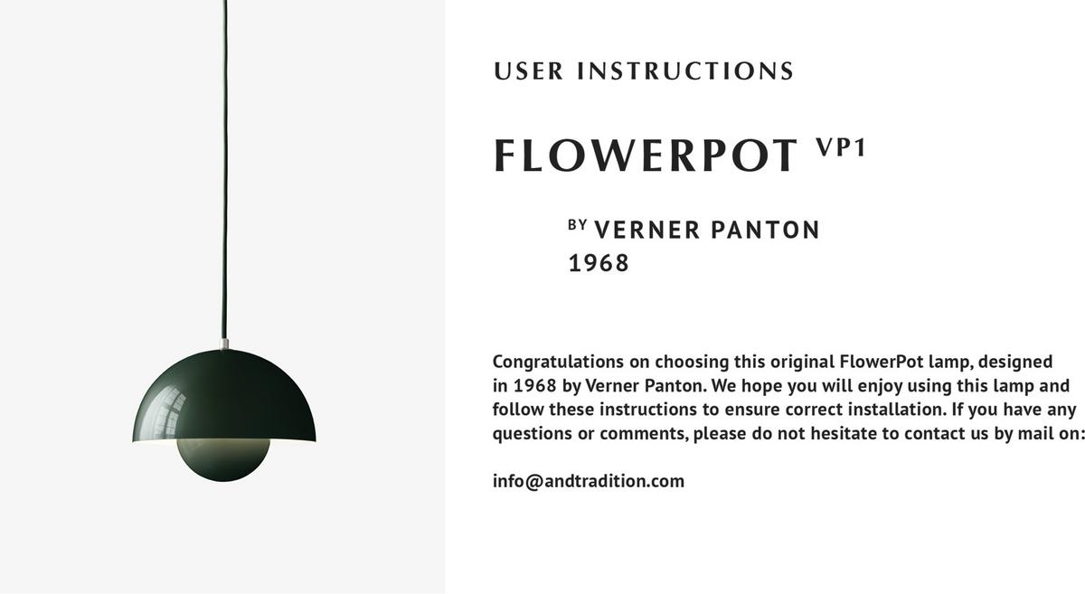 Picture of: Tradition Flowerpot Vp1 Pendant Lamp By Verner Panton 1968 Designer Furniture By Smow Com