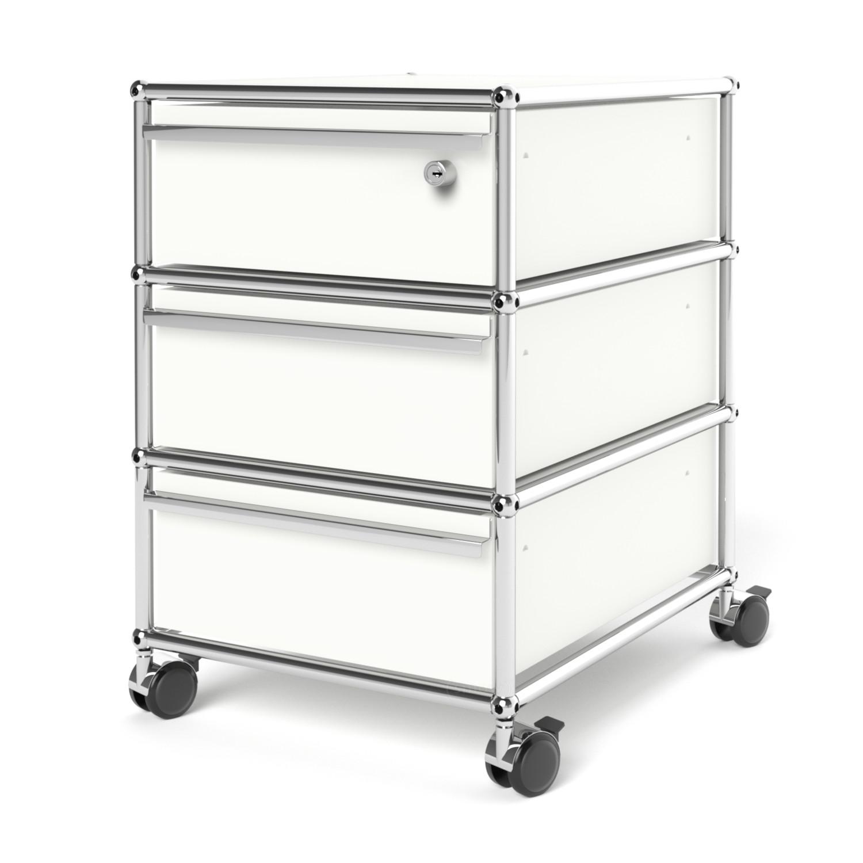 usm haller rollcontainer mit 3 schubladen typ i oberste schublade mit schloss reinwei ral. Black Bedroom Furniture Sets. Home Design Ideas
