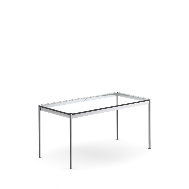 USM Haller Tisch, 35 x 35 cm, Glas, Transparent von Fritz Haller
