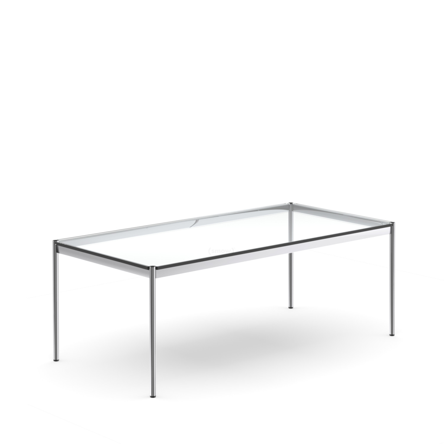 usm haller tisch 100 x 200 cm glas transparent von fritz haller paul sch rer 1962. Black Bedroom Furniture Sets. Home Design Ideas