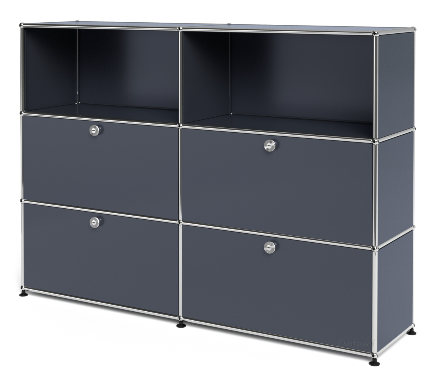usm haller highboard l mit 4 klappen anthrazitgrau ral 7016 von fritz haller paul sch rer. Black Bedroom Furniture Sets. Home Design Ideas