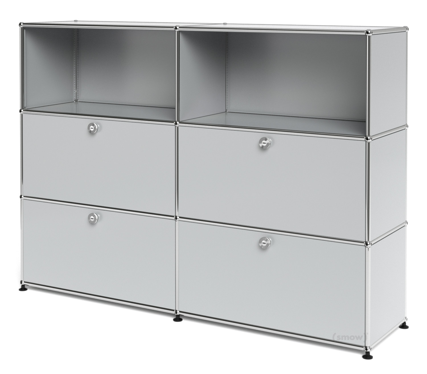 usm haller highboard l mit 4 klappen lichtgrau ral 7035. Black Bedroom Furniture Sets. Home Design Ideas
