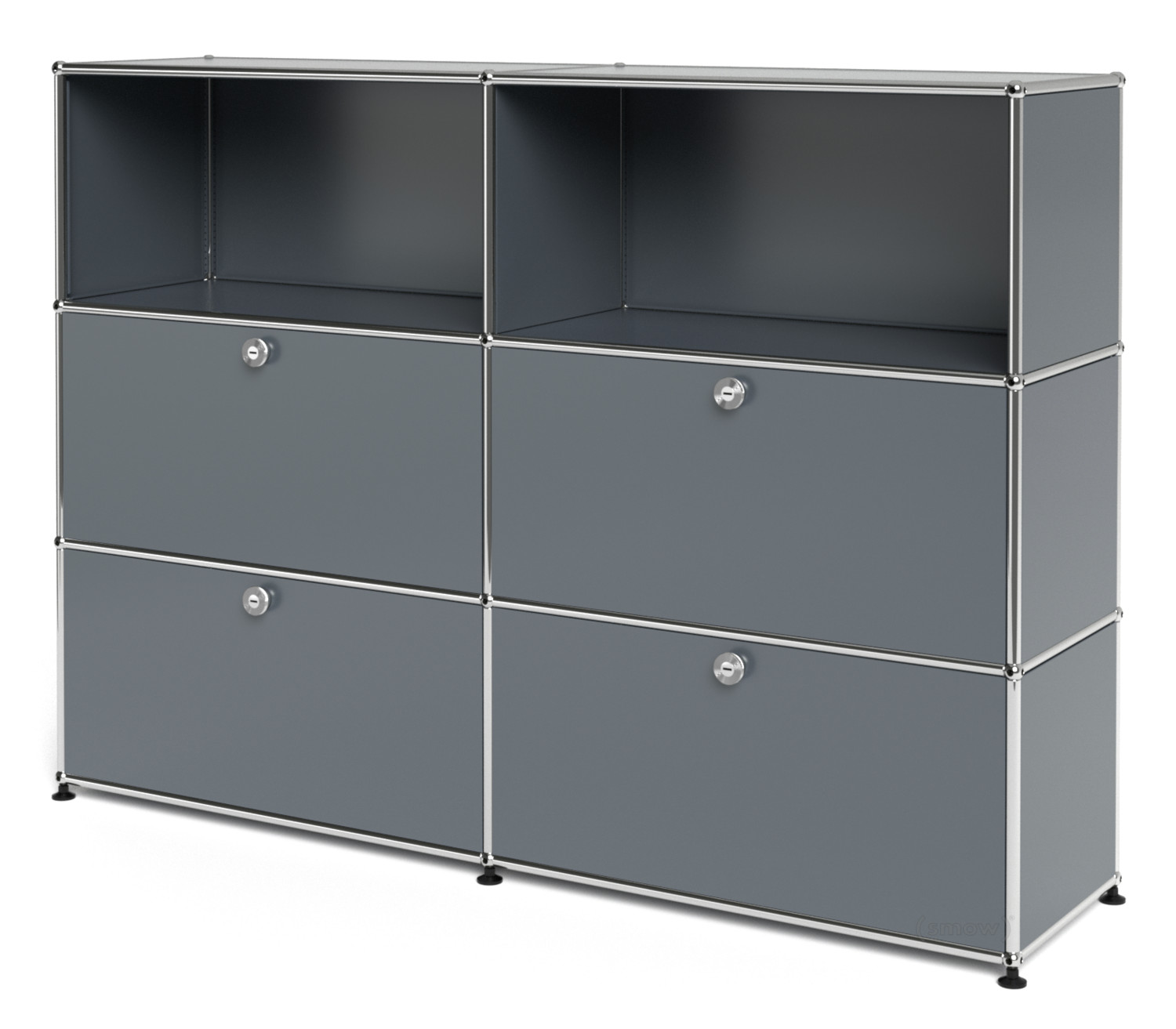 usm haller highboard l mit 4 klappen mittelgrau ral 7005 von fritz haller paul sch rer. Black Bedroom Furniture Sets. Home Design Ideas