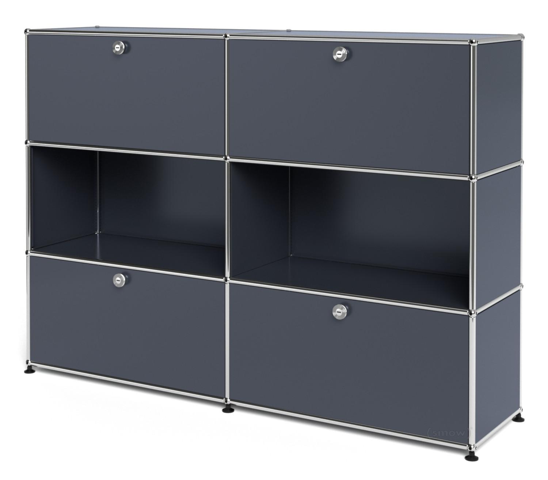 usm haller highboard l individualisierbar anthrazitgrau ral 7016 mit 2 klappen offen mit 2. Black Bedroom Furniture Sets. Home Design Ideas