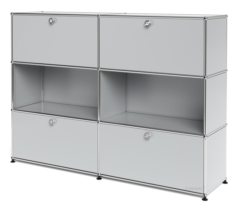usm haller highboard l individualisierbar lichtgrau ral 7035 mit 2 klappen offen mit 2. Black Bedroom Furniture Sets. Home Design Ideas