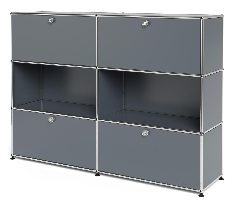 usm haller highboard l individualisierbar mittelgrau ral 7005 mit 2 klappen offen mit 2. Black Bedroom Furniture Sets. Home Design Ideas