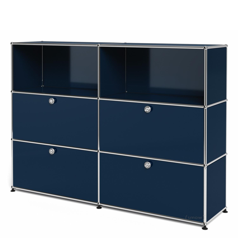 usm haller highboard l individualisierbar stahlblau ral 5011 offen mit 2 klappen mit 2. Black Bedroom Furniture Sets. Home Design Ideas