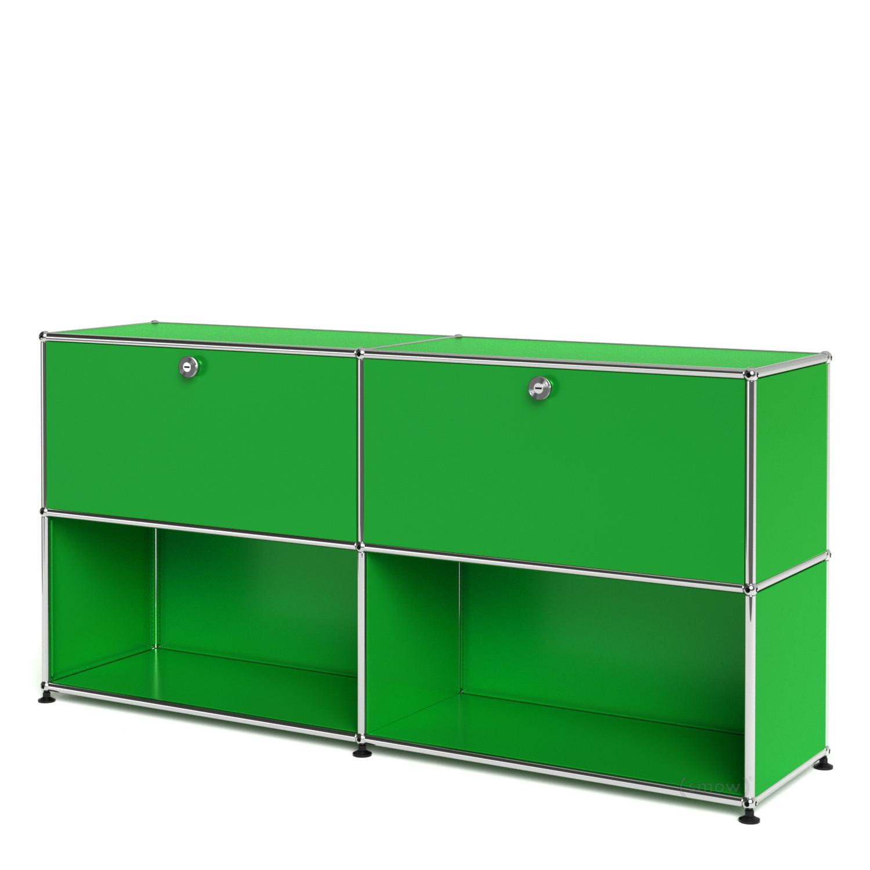 usm haller sideboard l individualisierbar usm gr n mit 2 klappen offen von fritz haller. Black Bedroom Furniture Sets. Home Design Ideas
