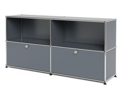 USM Haller Sideboard L, individualisierbar Mittelgrau RAL 7005|Offen|Mit 2 Klappen