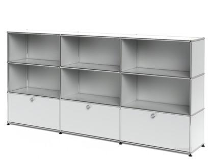 USM Haller Highboard XL, individualisierbar USM mattsilber|Offen|Offen|Mit 3 Auszügen