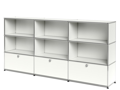 USM Haller Highboard XL, individualisierbar Reinweiß RAL 9010|Offen|Offen|Mit 3 Auszügen