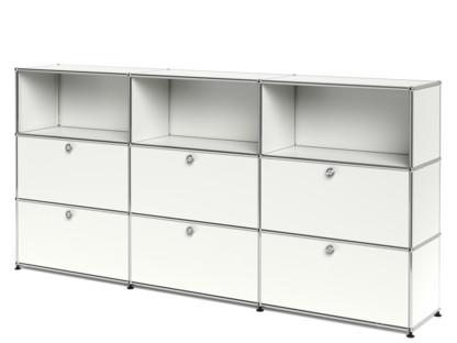 USM Haller Highboard XL, individualisierbar Reinweiß RAL 9010|Offen|Mit 3 Klappen|Mit 3 Auszügen