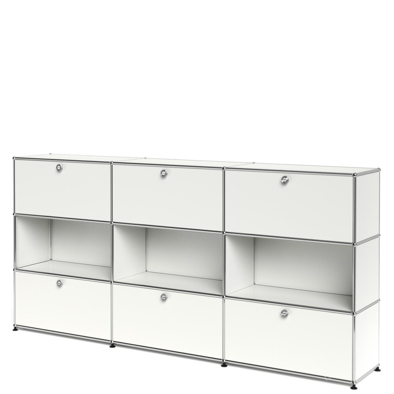 usm haller highboard xl individualisierbar reinwei ral 9010 mit 3 klappen offen mit 3. Black Bedroom Furniture Sets. Home Design Ideas