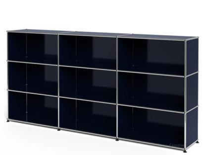 USM Haller Highboard XL, individualisierbar Stahlblau RAL 5011|Offen|Offen|Offen