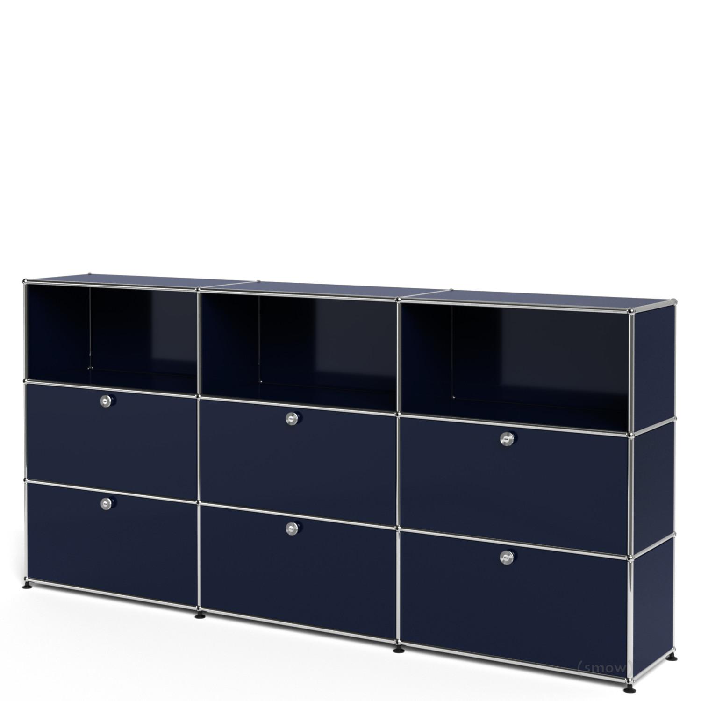 usm haller highboard xl individualisierbar stahlblau ral 5011 offen mit 3 klappen mit 3. Black Bedroom Furniture Sets. Home Design Ideas