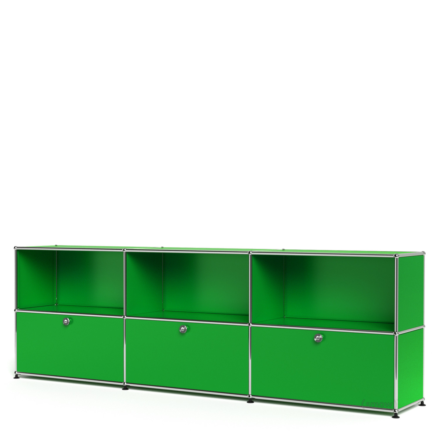 usm haller sideboard xl individualisierbar usm gr n offen mit 3 klappen von fritz haller. Black Bedroom Furniture Sets. Home Design Ideas