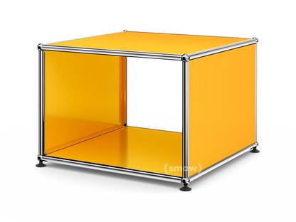 USM Haller Beistelltisch mit Seitenwänden 50 cm|ohne Glas-Zwischentablar|Goldgelb RAL 1004