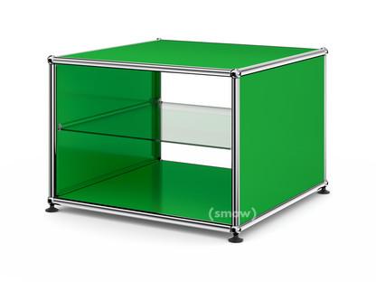 usm haller beistelltisch mit seitenw nden 50 cm mit glas zwischentablar usm gr n von fritz. Black Bedroom Furniture Sets. Home Design Ideas