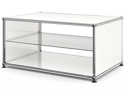 usm haller beistelltisch mit seitenw nden 75 cm mit glas zwischentablar reinwei ral 9010 von. Black Bedroom Furniture Sets. Home Design Ideas