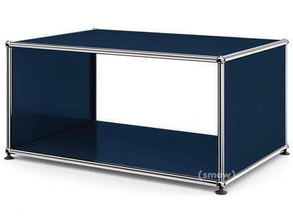 USM Haller Beistelltisch mit Seitenwänden 75 cm|ohne Glas-Zwischentablar|Stahlblau RAL 5011