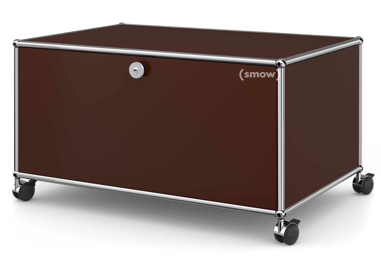 usm haller tv lowboard auf rollen mit klappt r und r ckwand usm braun von fritz haller paul. Black Bedroom Furniture Sets. Home Design Ideas