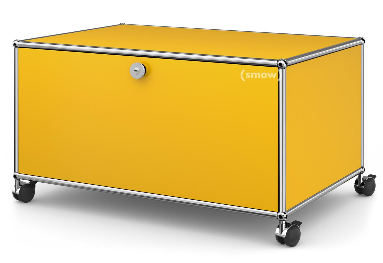 usm haller tv lowboard auf rollen mit klappt r und r ckwand goldgelb ral 1004 von fritz haller. Black Bedroom Furniture Sets. Home Design Ideas